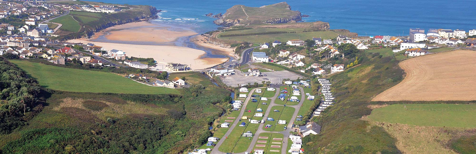 View of Porth Beach holiday park and distance from beach