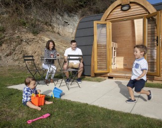 Glamping pods at Porth Beach Tourist Park
