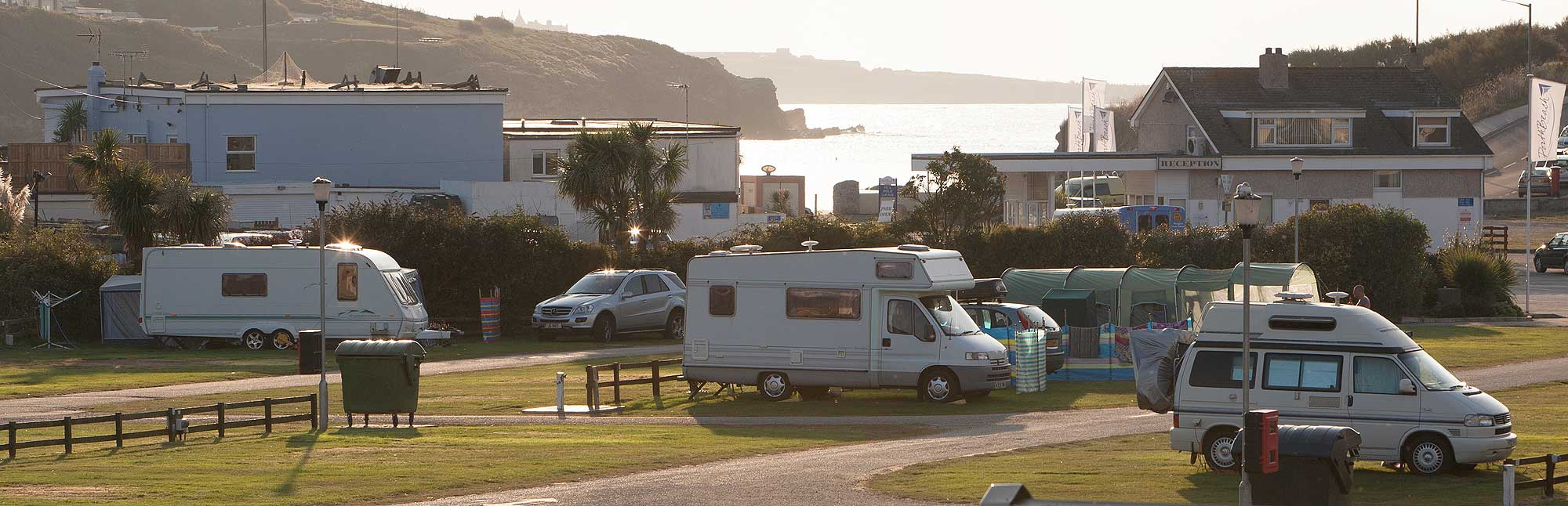 View across Porth Beach touring park
