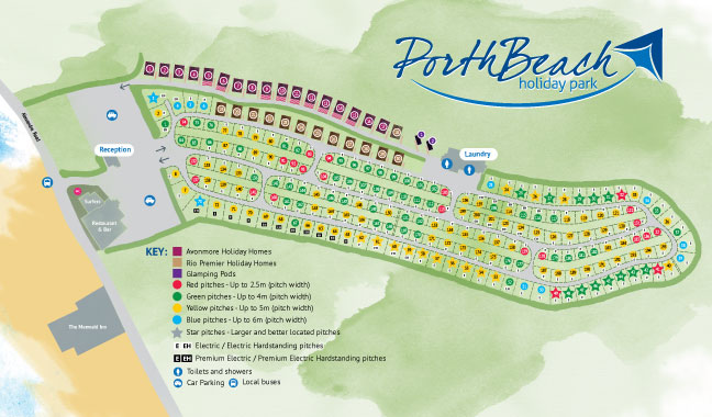 Map of Porth Beach Holiday Park