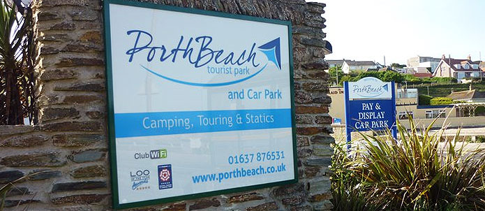 Porth Beach Tourist Park Entrance